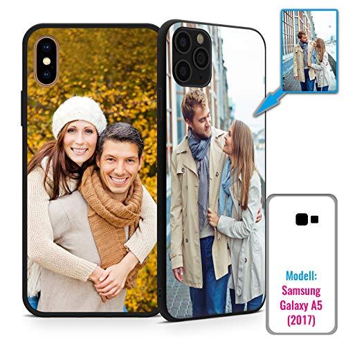 PixiPrints Foto-Handyhülle mit eigenem Bild kompatibel mit Samsung Galaxy A5 (2017), Hülle: TPU-Silikon in Schwarz-Matt, personalisiertes Premium-Case selbst gestalten mit flexiblem Druck