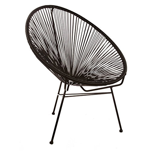 Design Tree Home Acapulco Indoor/Outdoor Lounge Chair, Black Weave on Black Frame