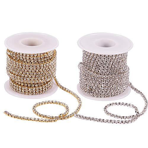BENECREAT 2 Rollos 18.28m 3mm Crystal Rhinestone Cadena de Recortar Claro Garra Cadena de Costura Artesania Alrededor de 2330pcs Piedras Strass - Cristal (Parte Inferior de Plata y Oro)