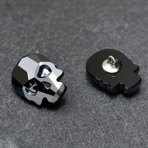 2-pcs 18 x 14mm Swarovski 2856 Skull Flat Back Button with Shank (Jet Hematite)