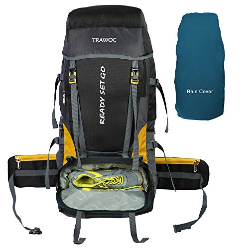 TRAWOC Travel Bag Camping Rucksack Trekking Hiking Bag with Shoe Compartment and Water proof Rain cover, Black, 1 year Warranty,...
