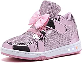 YILAN YL313 Toddler Glitter Shoes Girl's Flashing Sneakers with Cute Bowknot PNK-7 Pink