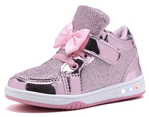 YILAN Toddler Glitter Shoes Girl's Flashing Sneakers with Cute Bowknot (10 Toddler, Pink)