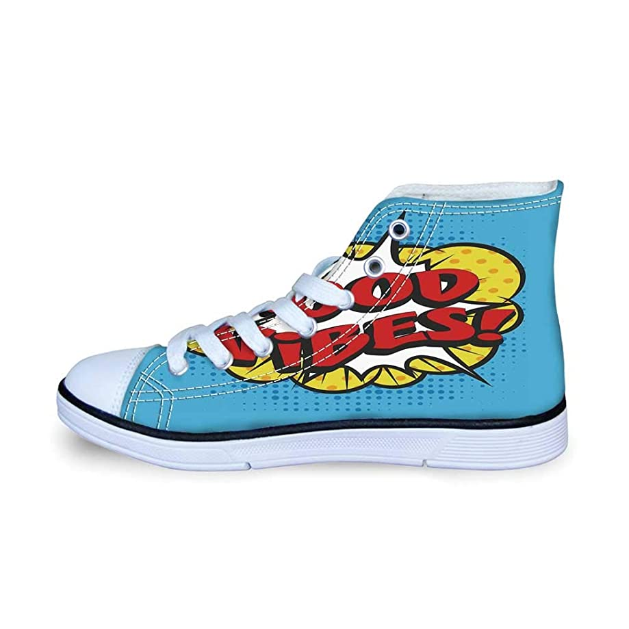Good Vibes Comfortable High Top Canvas Shoes,Fantastic Colorful Fun Design Cute Magic Unicorn Speech Bubble Stars and Donut Decorative for Boys,EU29