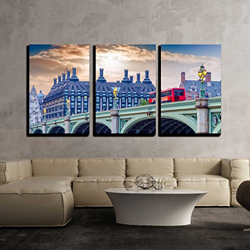 """wall26 - 3 Piece Canvas Wall Art - Red doubledecker Bus on Westminster Bridge. - Modern Home Art Stretched and Framed Ready to Hang - 16""""x24""""x3 Panels"""
