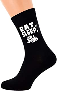 Eat Sleep Driving my Tractor with Image Design Mens Black Cotton Rich Socks