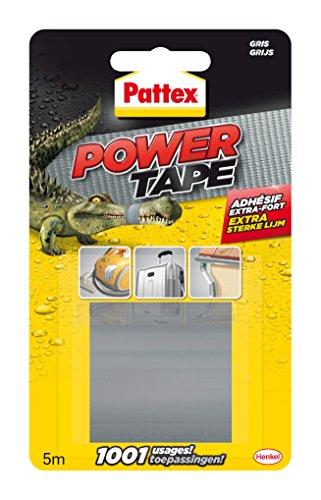 Pattex Power Tape, Ruban adhésif extra fort pour charges lourdes, Bande adhésive toilée tous supports, Rouleau adhésif étanche de 48 mm x 5 m, gris