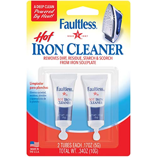 FAULTLESS Hot Iron Cleaner, Non-Toxic Steam Iron Cleaner, Removes Melted Fabrics, Glue, Hard Water, Lime Deposits & Starch - 2 X 0.17 oz Tubes Blister Packs