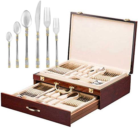 Italian Collection Luxor 75 P Premium Flatware Set w Wooden Storage Case Dining Cutlery Service product image