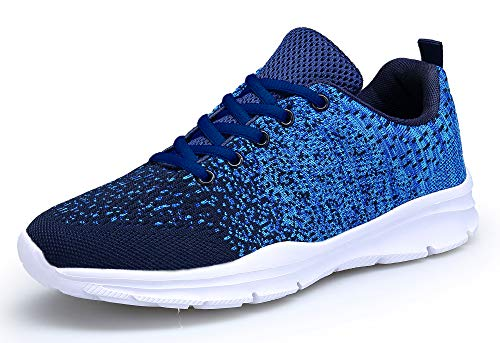 KOUDYEN Laufschuhe Atmungsaktiv Turnschuhe Schnürer Sportschuhe Sneaker für Herren Damen, 40 EU, Blau