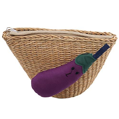 ZALING Nette Eltern-Kind-Mode Sommer Woven Tasche Schale Mini Strand Umhängetasche Lila Aubergine (Erwachsene)