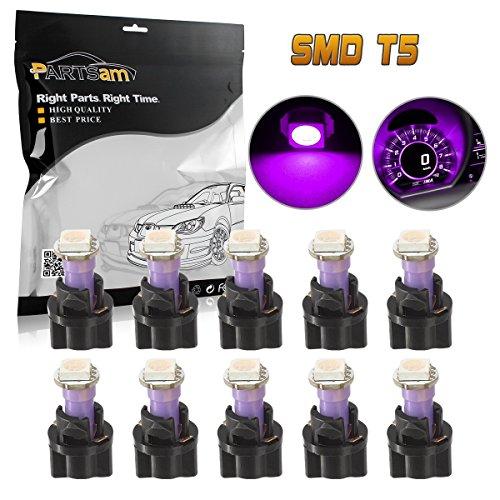 Partsam 10PCS Purple PC74 73 Instrument Panel LED Light Gauge Cluster Dashboard Lamp Bulbs with Twist Socket