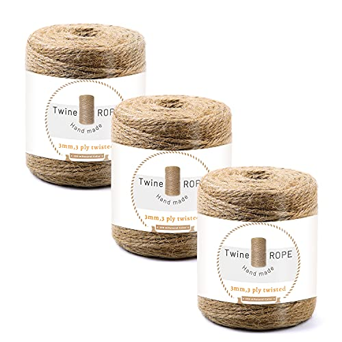 Zxiixz 3 Pieces Jute Twine, 100m/328Feet Rope String Cord, Twine String with Stickers, Jute Rope Durable Packing String for Arts and Crafts Wrapping Gifts and Gardening(3MM)