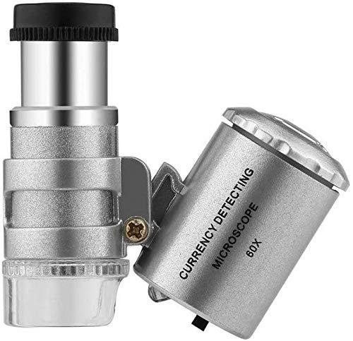 JJDSN Lupa portátil, lupas para Herramientas de pasatiempo, microscopio portátil de detección de Moneda 60X, probador de Dinero de Mano, Lupa, Lupa, Vidrio, luz LED, microscopio UV