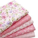 5pcs/lot rose 40cm * * * * * * * * 50cm Tissu 100% coton pour couture Fat Quarter Tissus Patchwork Tilda Poupée Chiffon Kids Parure de lit Textile