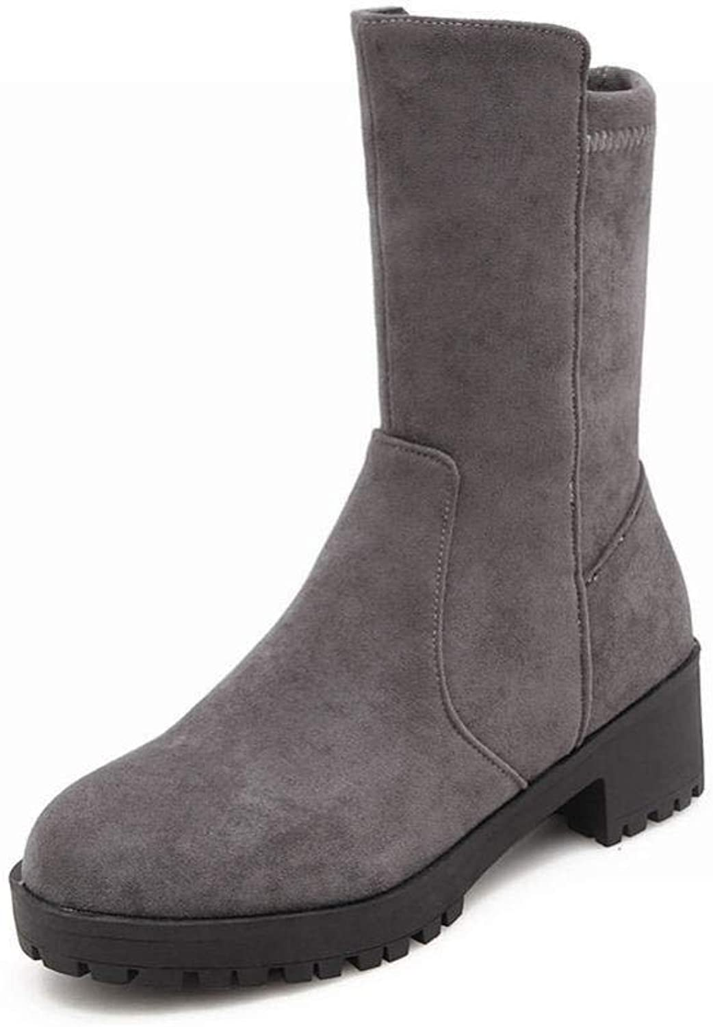 Women's Boots - Thick with Nubuck Leather Low Heel Boots Winter Non-Slip Warm Snow   35-43