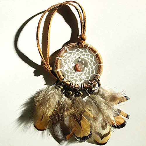 Josairy Brown Mini Dream Catcher Natural Feather Hand Craft Dream Catchers for car Decoration (Blond)