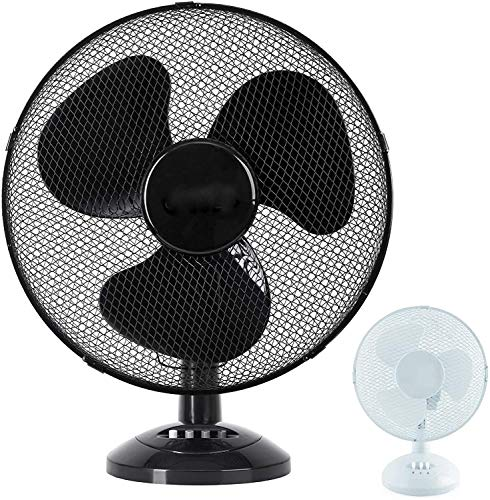 Tischventilator Ø 23 cm Tisch Büro max 45 Watt Ventilator Luftkühler Standlüfter Lüfter Schwarz oder Weiss (Schwarz)