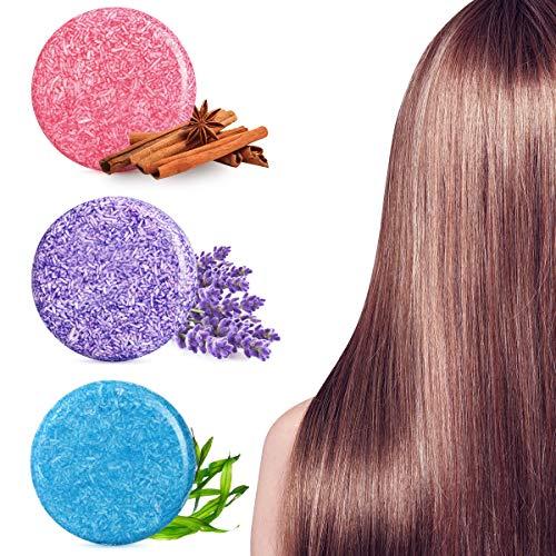Frcolor Barra del champú del jabón del pelo, jabón hecho a mano del acondicionador del jabón del aceite esencial natural para la limpieza del pelo y la crema hidratante del pelo, paquete 3