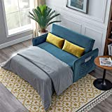 Sleeper Sofa Bed, Sectional Sleeper Sofa Pull Out Bed Velvet Sofa Bed with 2 Lumbar Pillows,Compact for Living Room or Bedroom, Blue