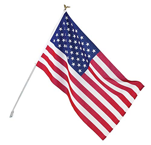 Valley Forge, American Flag Kit, Poly-Cotton, 3' x 5', 100% Made in USA, Grommeted Flag, 6' Steel Pole and Bracket