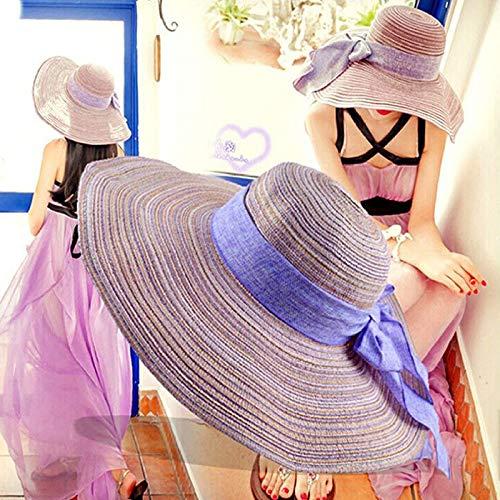 mlpnko Damenhut Baumwolle und Leinen gestreift Faltbarer Sonnenschirm Strohhut Sonnencreme Sonnenhut lila Code