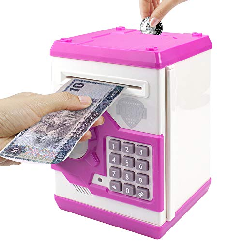 Samate Cartoon Electronic ATM Password Piggy Banks New Great Gift Toy for Children Kids Can Auto Scroll Paper Money for Children Fun Toy (Pink1)