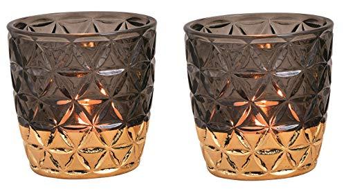 Schmucks HOME Windlicht aus Glas Teelichthalter orientalisch im 2er Set, Kerzenständer, Frühlings-Deko Windlicht Gold (schwarz)