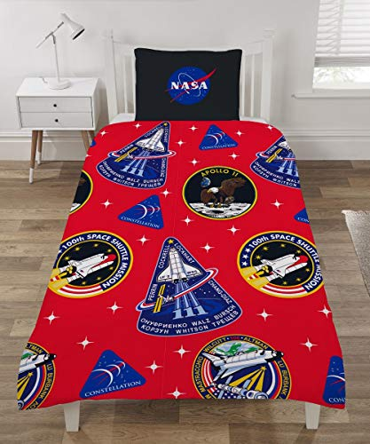 CnA Stores NASA Single Duvet Cover Set Astronomy Space Reversible Bedding With Pillowcase