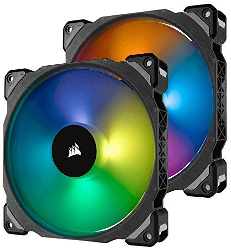 Corsair ML140 PRO 140mm Premium Magnetic Levitation RGB LED PWM Fan with Lighting Node Twin Pack...
