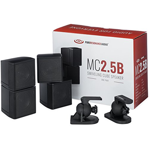 "Pure Resonance Audio MC2.5B - Mini Cube Speaker Dual 2.5"" Swivel Surround Sound (Pair, Black)"