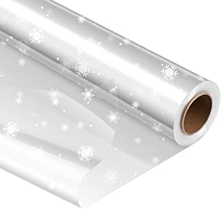STOBOK Clear Cellophane Wrap Roll | Unfolded Width 32 inch x 100 Ft Snowflake Pattern Paper Wrapper,3 Mil Thicken Long Fil...