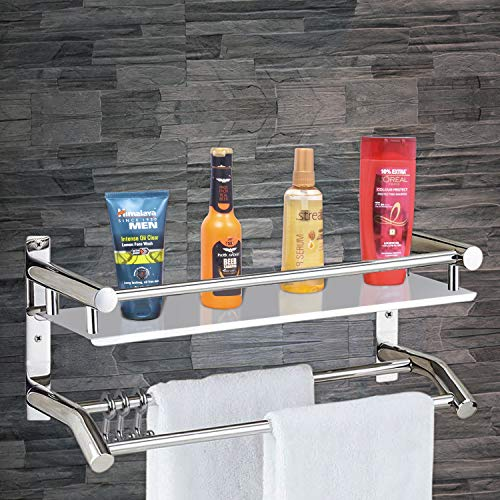 Plantex High Grade Stainless Steel Wall Mount Shelf 2 Tier Bathroom Shelf/Rack with Towel Holder/Towel Hooks/Bathroom Accessories Wall-Mount (Silver)