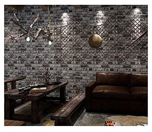 YQQQQ Ladrillo 3D Fondos de Pantalla PVC Papel de Pared Rollo para revestimientos de Pared Decoración del hogar (Color : Gray, Size : 9.5m/0.53m)