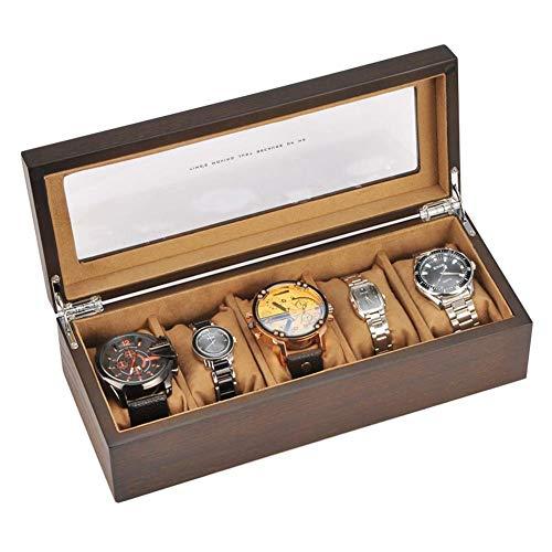 XBSXP Wooden Watch Box, 5 Slot Wood Watch Case Organizer mit Glasregal, für Frauen und Männer, D.