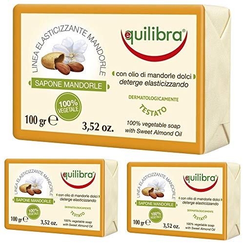 Equilibra Mandorle Sapone 100% vegetale, 100 g, Pacco da 12