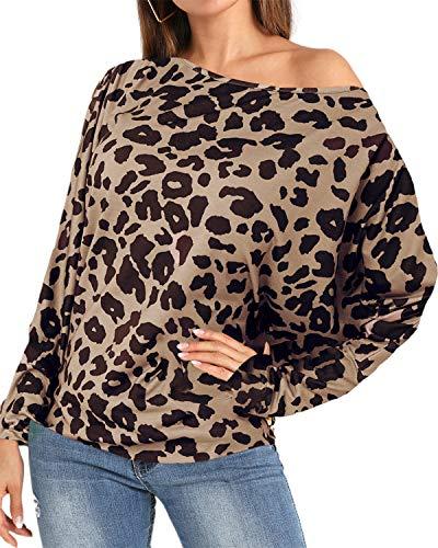 YOINS Sexy Oberteil Damen Schulterfrei Schulter Tshirt Kurzarm Langarm Pullover Sexy Leopard Frühling und Sommer T-Shirt Tops Oberteile Blusen Leopard-02 EU36-38