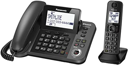 $39 » Panasonic KX-TGF380M Link2Cell Bluetooth Corded/Cordless Call Block Phone - Answering Machine with 1 Cordless Handset with Talking Caller ID (Renewed)