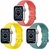 Paquete de 3 correas para Apple Watch compatibles con Apple Watch 38 mm, 42 mm, 40 mm, 44 mm, correa de silicona suave para relojes deportivos, compatible con iWatch SE Series 6 5 4 3 2 1(B, 38/40)