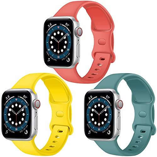 Confezione 3 cinturini Apple Watch compatibili con Apple Watch 38 mm, 42 mm, 40 mm, 44 mm, cinturino sportivo in silicone morbido, compatibile con iWatch serie SE 6 5 4 3 2 1 (B, 42MM 44MM)