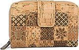styleBREAKER Portafoglio di sughero da donna con stampa a motivi di ornamenti etnici colorati, chiusura a scatto, cerniera lampo, portafoglio 02040146, colore:Beige-Marrone
