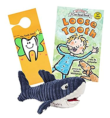Maison Chic Shark Tooth Fairy Stuffed Animal Plush Pillow and Loose Tooth Book w/ Door Hanger Set (Bruce Shark TF / Loose Tooth)