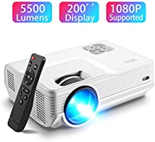 Mini Projector, Iolieo 5500 Lumen 1080P Supported Projector, 200'' Display 50000 Hrs LED Life, Dual Speakers Portable...