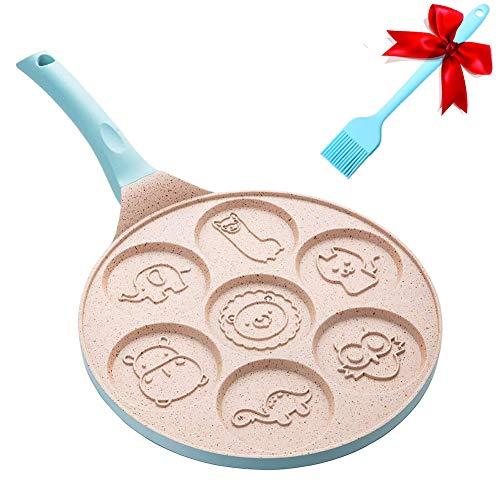 Hxytech Pfannkuchenform Antihaftpfanne mit 7 Tassen Tier Blini Pfannkuchen Maker – 25,4 cm Pfannkuchen Grillpfanne Frühstück Braten für Kinder Geschenke Kuchen