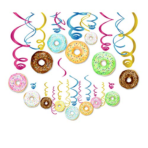 CC HOME 30Ct Donut Party Decoration,Donut Hanging Swirl Decoration Kit - Donut Party Hanging Decorations for Donut,New Year,Baby Shower,Birthday Party Decoration