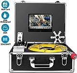 Anysun Cámara de Inspección de Drenaje, Endoscopio Industrial de la Tubería de alcantarilla con el Registrador de DVR, Boroscopio Inalámbrico Impermeable IP68 50M/165ft con Monitor LCD 1000TVL