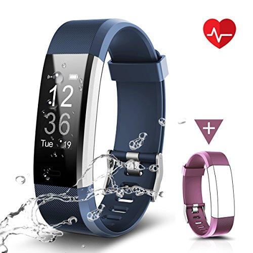 CHEREEKI Fitness Tracker Impermeabile IP67, LATEC Cardiofrequenzimetro Activity Tracker Braccialetto intelligente Pedometro con Allarme Calorie Monitor di sonno Chiamata SMS Notifica