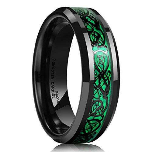 King Will DRAGON 5mm Green Carbon Fiber Black Celtic Dragon Tungsten Carbide Ring Comfort Fit Wedding Band 6.5
