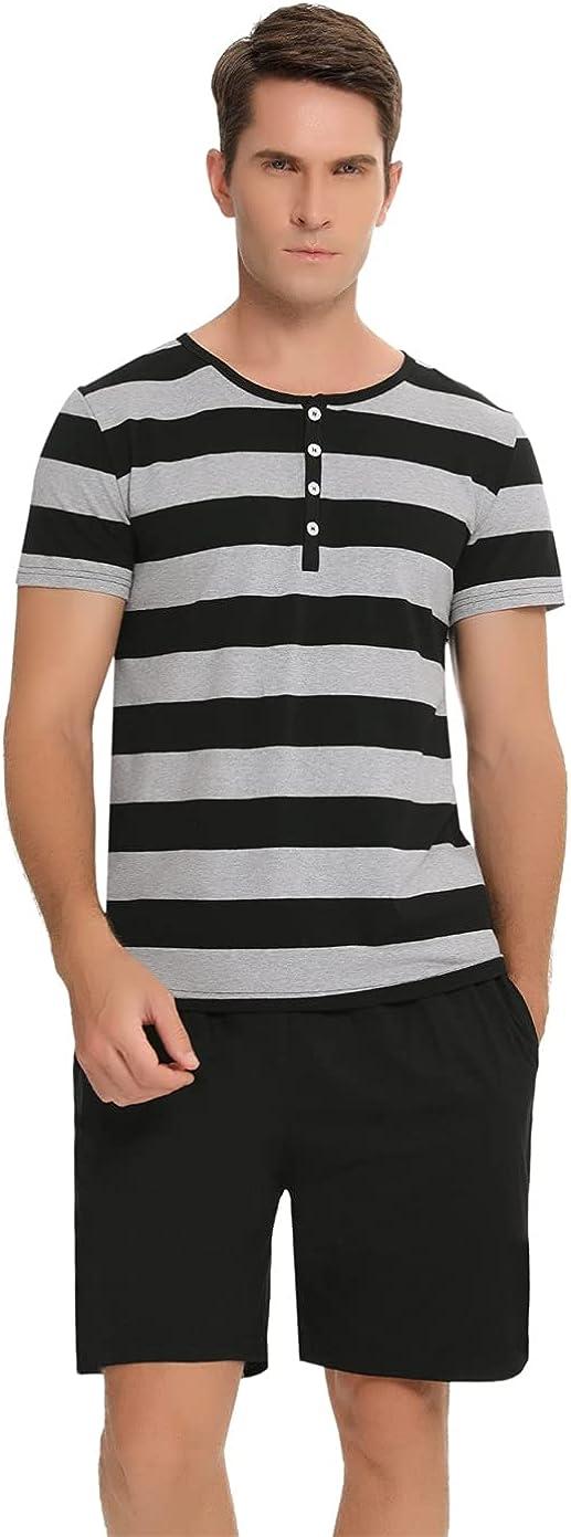 Men's Short Sleeve Sleepwear Summer Cotton Pajama Thick Striped Loungewear Soft Pjs Set with Pockets