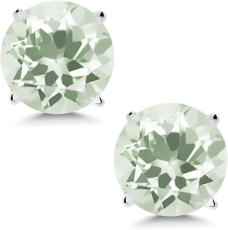 1.90 Ct Round 6mm Green Amethyst 14K White gold Stud Earrings